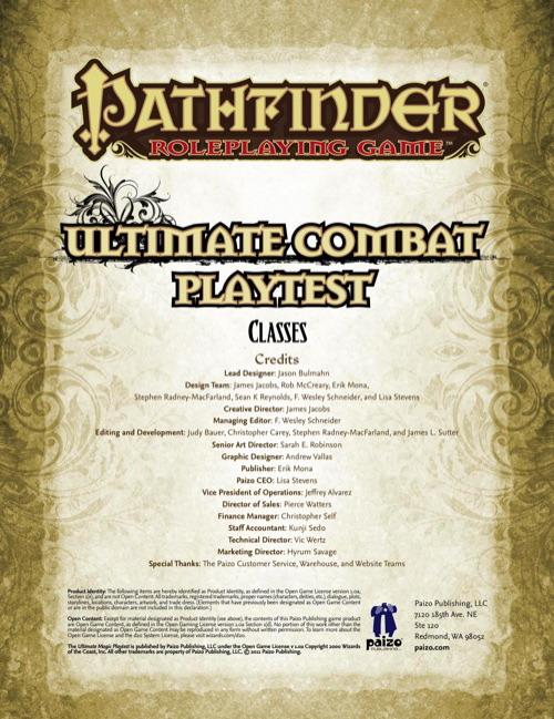 Pathfinder Ultimate Combat Playtest
