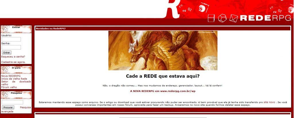Último visual vermelho da RedeRPG antes do atual.