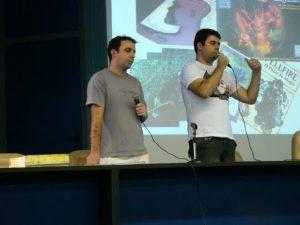 Marcelo Oliveira e Cristiano Cuty em palestra no Encontro de RPG de Viçosa