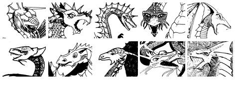 Linha um: Dragões Negro, Azul, Verde, Vermelho e Branco  / Linha dois: Dragões de Latão, Bronze, Cobre, Ouro e Prata