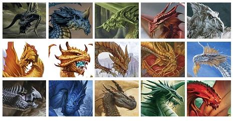 Linha um: Dragões Negro, Azul, Verde, Vermelho e Branco / Linha dois: Dragões de Latão, Bronze, Cobre, Ouro e Prata / Linha três: Dragões de Adamantina, Cobalto, Ferro, Mithral e Orium