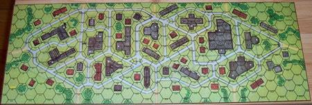 Um tabuleiro de jogo do Squad Leader, dividido em hexágonos – Fonte: Boardgamegeek