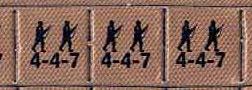 Exemplos de unidades de infantaria do Squad Leader.  O primeiro número é a movimentação, ou seja, o número de hexágonos que a mesma se movimenta no tabuleiro. A segunda é o poder de ataque e defesa, e a terceira a moral,  utilizada em testes de combate.  Coleção particular do autor.