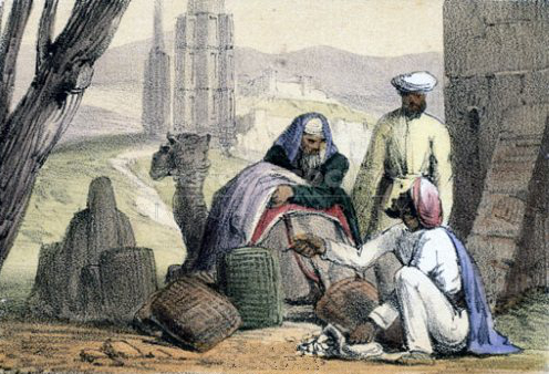A_print_from_1845_shows_cowry_shells_being_used_as_money_by_an_Arab_trader