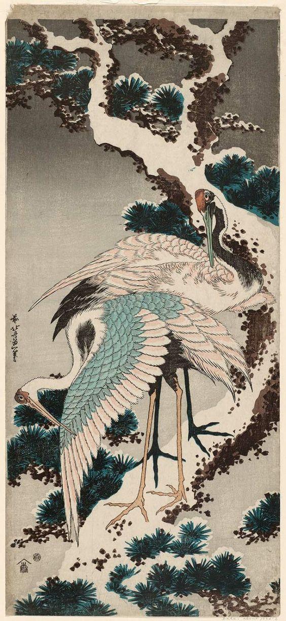 Garças na Neve, de Katsushika Hokusai